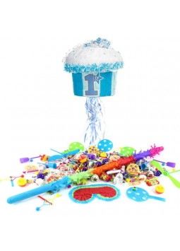 1st Birthday Blue Cupcake Pull Piñata Kit
