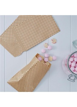 Pick & Mix Kraft Metallic Polka Dot Treat Bags - 19cm