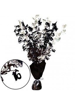 16th Black Foil Centrepiece - Table Decoration 43cm
