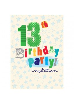 13th Birthday Invitation Cards - Crazy Stars - Small