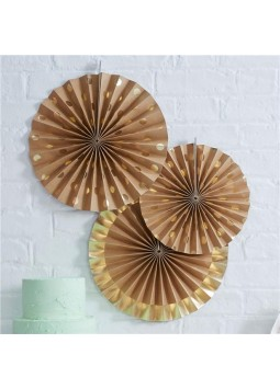 Pick & Mix Kraft Metallic Polka Dot Paper Fan Decorations - 36cm