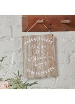 Boho Wedding 'And So The Adventure Begins' Wooden Sign - 25.5 x 20cm