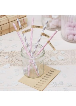 A Vintage Affair - Brown Kraft Straw flags