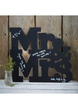 Mr Mrs Wooden Chalkboard Guest Book