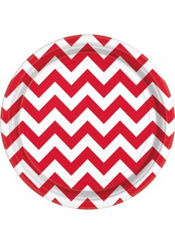 Apple Red Chevron Plates - 23cm Paper