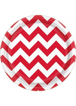 Apple Red Chevron Dessert Plates - 18cm Paper