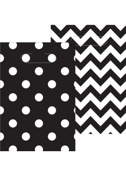 Black Polka Dot & Chevron Party Bags - Plastic Loot Bags