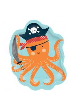 Ahoy Birthday Octopus Shaped Plates - 18cm (8pk)