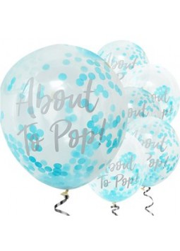 Oh Baby 'About To Pop' Blue Confetti Balloons