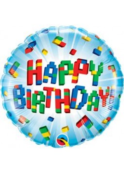"'Happy Birthday' Exploding Blocks Balloon - 18"" Foil (each)"