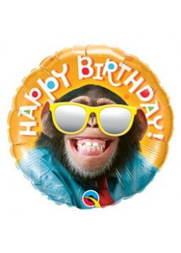 "'Happy Birthday' Smiling Chimp Balloon - 18"" Foil (each)"