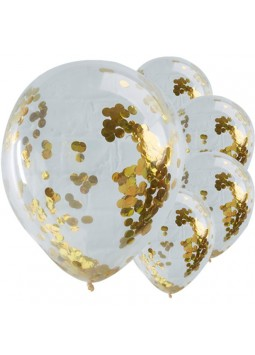 1st Birthday Party Pick & Mix Gold Confetti Balloons