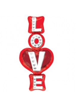 "Love Stacked Supershape Balloon - 39"" Foil"