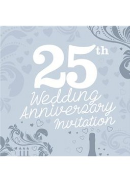 25th Wedding Anniversary Invitation Cards - Medium