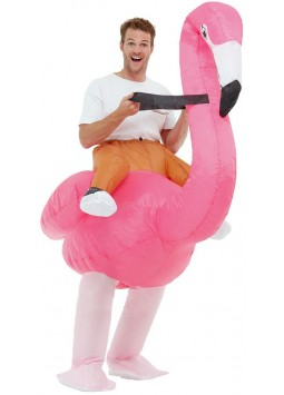 Inflatable Ride Em Flamingo Costume, Pink