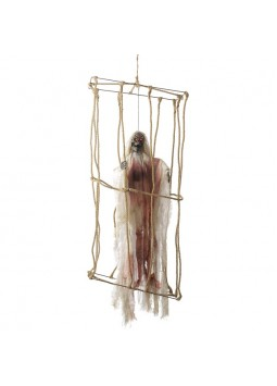 Animated Hanging Caged Skeleton Decoration, White