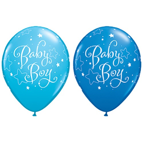 "Baby Boy Stars Blue Balloons - 11"" latex (Pack of 25)"