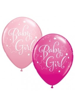 "Baby Girl Pink Stars Balloons - 11"" Latex (Pack of 25)"