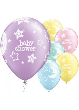 "Baby Shower Moon & Stars Balloons - 11"" Latex (Pack of 6)"