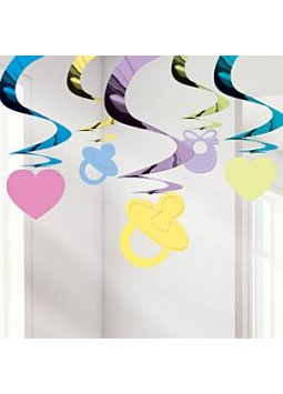 Baby Shower Hanging Swirl Decoration (Pack of 5)