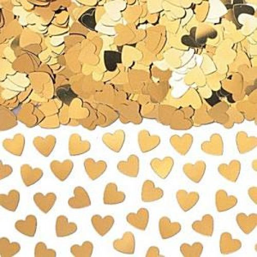 Gold Sparkle Hearts Metallic Confetti - 14g