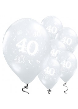 40th Birthday or Anniversary Diamond Clear Balloons - 11'' Latex (Pack of 50)