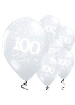 100th Birthday Diamond Clear Balloons - 11'' Latex (Pack of 25)