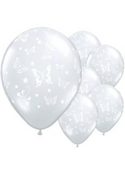 "Butterflies Diamond Clear Balloons - 16"" Latex (Pack of 50)"