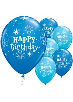 "Happy Birthday Blue Sparkle Balloons - 11"" Latex (25)"