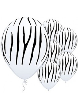 "Zebra Stripes Balloons - 11"" Latex (25)"