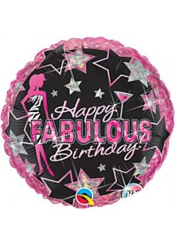 "Happy Fabulous Birthday Round Balloon - 18"" Foil"