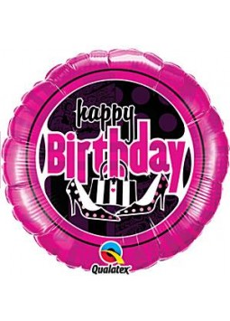 "Happy Birthday Feminine Fun Pink Round Balloon - 18"" Foil"