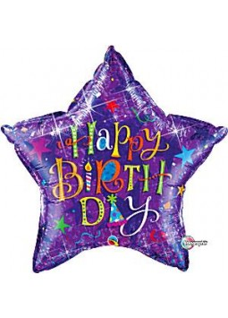 "Happy Birthday Purple Typography Balloon - 36"" Foil"