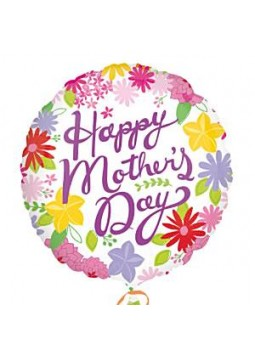 "Happy Mother's Day Cheerful Flowers Balloon - 18"" Foil"
