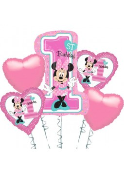 Minnie Mouse 1st Birthday Balloon Bouquet - Assorted Foil