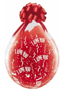 "Balloons: Clear Valentines ""I Love You"" Stuffing Balloons 18"" Latex"