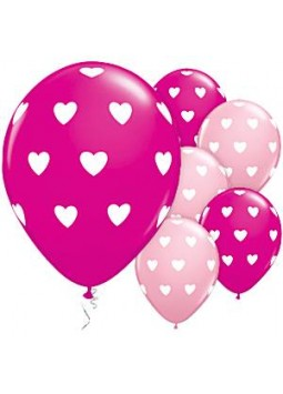 "Balloons: Pink Heart Print  11"" Latex (Pack of 25)"