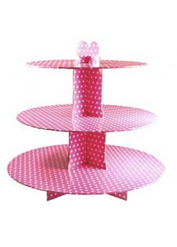 Pink Polka Dot Cup Cake Stand