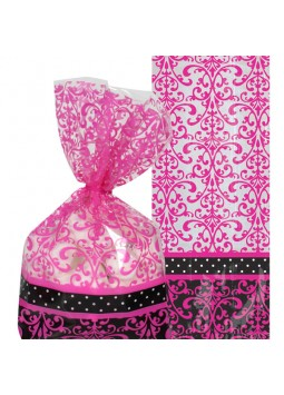 Black & Pink Cellophane Party Bags (Party of 20)