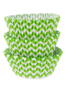 Kiwi Chevron Cupcake Cases - 5cm (75)