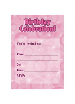 Birthday Celebration Pink Invitations