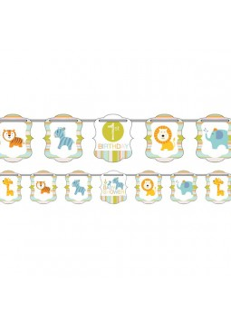 1st Birthday Party Happy Jungle Ribbon Banner