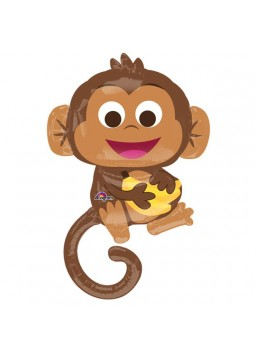 1st Birthday Party Happy Monkey Supershape Balloon