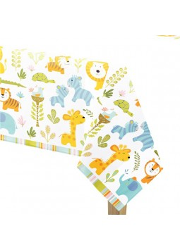 1st Birthday Party Happy Jungle Plastic Tablecover