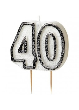 40th Birthday Candle - Black