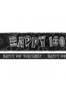 Age 100 Black Birthday Banner - 3.6m