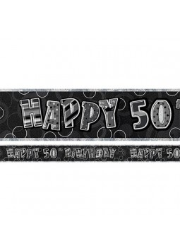 Age 50 Black Birthday Banner - 2.75m