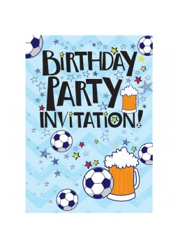 Beer and Football Birthday Invitation Cards - Medium