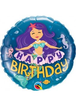 "'Happy Birthday' Mermaid Balloon - 18"" Foil (each)"