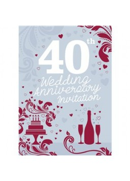 40th Wedding Anniversary Invitation Cards - Small
